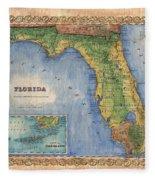 Historical Map Hand Painted Vintage Florida Colton Fleece Blanket