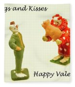 Hogs And Kisses Clown Valentines Fleece Blanket
