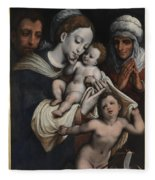 Holy Family With Elisabeth And John The Baptist  Fleece Blanket