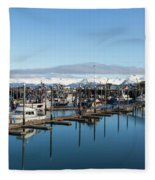 Homer Alaska Fishing Port Fleece Blanket