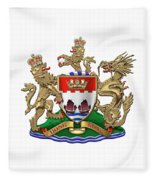 Hong Kong - 1959-1997 Coat Of Arms Over White Leather  Fleece Blanket