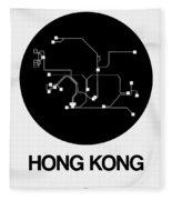 Hong Kong Black Subway Map Fleece Blanket