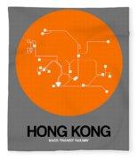 Hong Kong Orange Subway Map Fleece Blanket