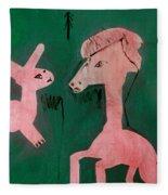 Horse And A Rabbit Fleece Blanket