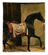 Horse Leaving A Stable Fleece Blanket