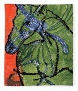 Horse On Orange And Green Fleece Blanket