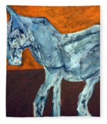 Horse On Orange Fleece Blanket