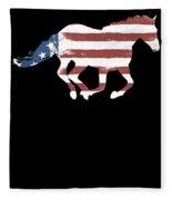 Horse Usa Patriotic Horse Silhouette Equestrian Riders Gift Light Fleece Blanket