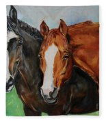 Horses In Oil Paint Fleece Blanket