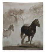 Horses In The Mist Fleece Blanket