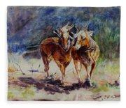 Horses On Work Fleece Blanket