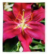 Hot Pink Day Lily Fleece Blanket