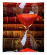 Hourglass And Old Books Fleece Blanket