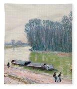 Houseboats On The River Loing Fleece Blanket