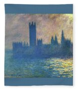 Houses Of Parliament, Sunlight Effect - Digital Remastered Edition Fleece Blanket