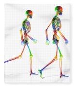 Human Skeleton Pair Fleece Blanket