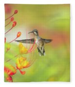 Hummingbird And Pride Of Barbados  Fleece Blanket