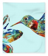 Hummingbird Blue - Sharon Cummings Fleece Blanket