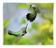 Hummingbirds Ensuing Battle Fleece Blanket
