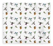 Hummingbirds Of Trinidad And Tobago On White Fleece Blanket