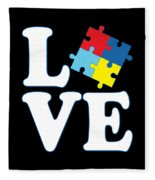 I Love Autism Fleece Blanket