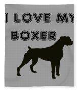 I Love My Boxer Fleece Blanket