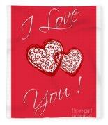 I Love You Hearts Fleece Blanket