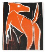I Was Born In A Mine Orange Dog 33 Fleece Blanket