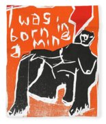 I Was Born In A Mine Woodcut 55 Fleece Blanket