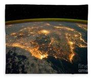 Iberian Peninsula From Space Fleece Blanket