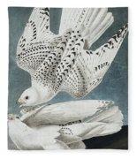 Iceland Falcon Or Jer Falcon By Audubon Fleece Blanket