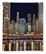 Iconic Night View Down The River Fleece Blanket