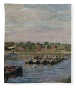 Idle Barges On The Loing Canal At Saint-mammes Fleece Blanket