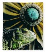 Iguana And Sunflower Fleece Blanket