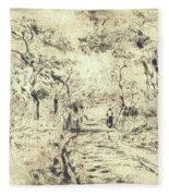 In The Fields At Ennery, 1875 Fleece Blanket