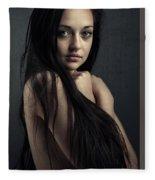 Innocent Young Woman Fleece Blanket