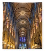 Interior Of Notre Dame De Paris Fleece Blanket