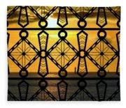 Iron Lattice Pattern St Malo Sunset Fleece Blanket