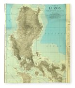 Island Of Luzon - Old Cartographic Map - Antique Maps Fleece Blanket