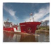 Iver Bright Tanker On The Manistee River Fleece Blanket