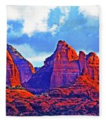 Jack's Canyon Village Of Oak Creek Arizona Sunset Red Rocks Blue Cloudy Sky 3152019 5080  Fleece Blanket