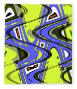 Janca Yellow And Blue Wave Abstract, Fleece Blanket