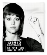 Jane Fonda Mug Shot Fleece Blanket