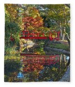 Japanese Garden Red Bridge Reflection Fleece Blanket