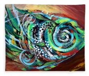 Jazzy Fish Trying For Busk At Dusk Fleece Blanket