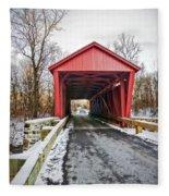 Jericho Covered Bridge Snow Fleece Blanket