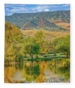 Jerome Reflected In Deadhorse Ranch Pond Fleece Blanket