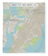 Jersey City New Jersey Us City Street Map Fleece Blanket