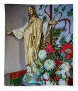 Jesus Christ With Flowers Fleece Blanket