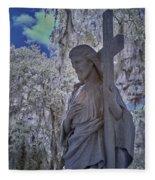 Jesus Graveyard Statue Fleece Blanket